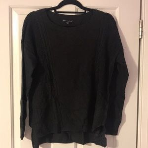 black crew neck knit sweater